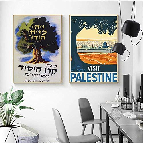 YaShengZhuangShi Canvas Artwork Painting 2x60x80cm no frame Visit Palestine Peru Landscape Vintage Modern Painting Posters Wall Art Pictures Home Decoration