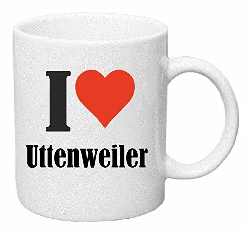 Reifen-Markt Kaffeetasse I Love Uttenweiler Keramik Höhe 9,5cm ⌀ 8cm in Weiß
