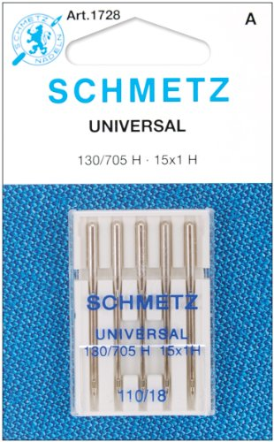 25 Schmetz Universal Sewing Machine Needles 130/705H 15x1H Size 110/18