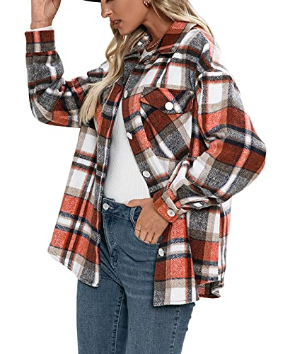 JHDESSLY Chaqueta casual de manga larga con botones de solapa de mezcla de lana para mujer, style3, L