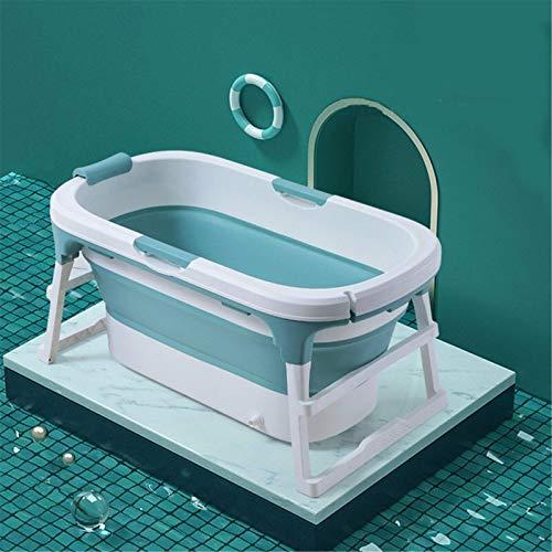 Bañera plegable grande y profunda plegable para adultos, bañera para niños con tapa; ideal para baño de hielo caliente (tamaño: 111 x 63 x 55 cm; color: verde)