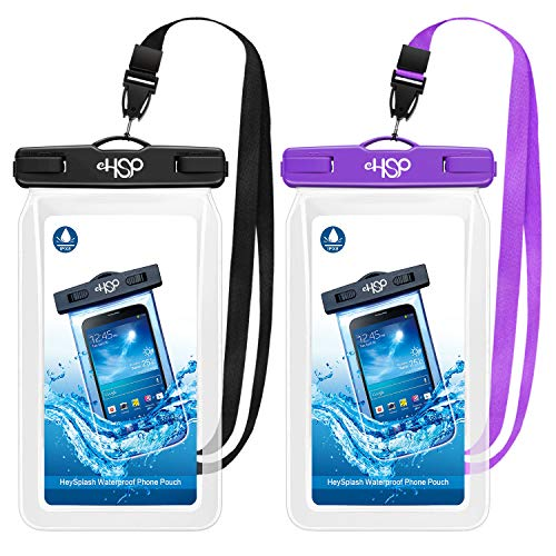 HeySplash Floating Waterproof Phone Case, (2 Pack) Underwater Cellphone Pouch Dry Bag with Lanyard Compatible with iPhone 12/12 mini/12 Pro/Pro Max/11 Pro Max/XS Max/11/XR/SE, Up to 7' Black+Purple