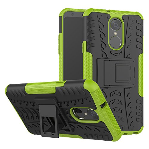 TiHen Handyhülle für LG stylo4/LG Q Stylus Hülle, 360 Grad Ganzkörper Schutzhülle + Panzerglas Schutzfolie 2 Stück Stoßfest zhülle Handys Tasche Bumper Hülle Cover Skin mit Ständer -Grün