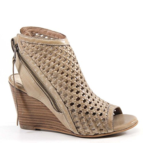 Diba True in Between Woven Leather Wedge, Tan, Size 6.5