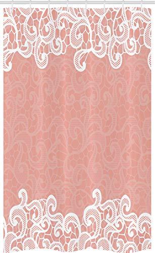 ABAKUHAUS Pfirsich Schmaler Duschvorhang, Latsch Design Dekorative, Badezimmer Deko Set aus Stoff mit Haken, 120 x 180 cm, Weiß