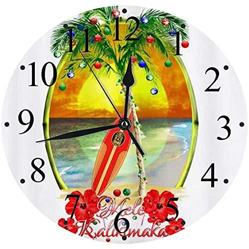 LUHUN Reloj de Pared Moderno,Tabla de Surf Mele Kalikimakareloj de Cuarzo de Cuarzo Redondo No-Ticking para Sala de Estar 30 cm