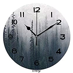 AmaUncle 10 inch Round Clock Morning Mist Rises from Conifer Forest in Joffre Lakes Provincial Park Unique Wall Clock-for Living Room, Bedroom or Kitchen Use No04936
