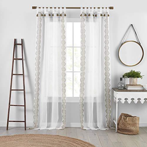 "Elrene Home Fashions Shilo Boho Sheer Tab Top Window Curtain Panel with Tassels, 52""x95"" (1, Linen"