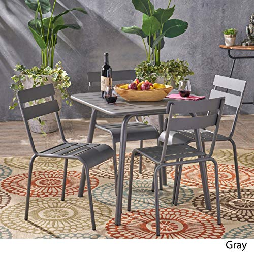 Christopher Knight Home Lacina Outdoor 5 Piece Dining Set by Grey