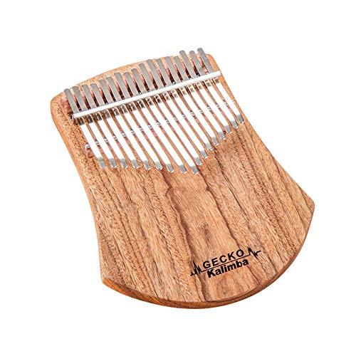 GECKO - Kalimba africana de madera de alcanfor con 17 laminillas, percusión con dedos, incluye martillo de afinación y bolsa de transporte