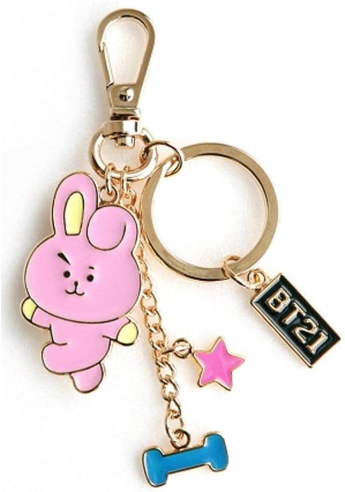 MEIJIA BTS Bangtan Boys Metal Key Ring Cute Korean Version of Key Pendant with Starry Blue Gift Box