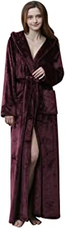 DEATU Robes with Hood Big and Tall, Women and Men Long Bathrobes Soft Plush Flannel, House Kimono Warm Thick Nightgowns