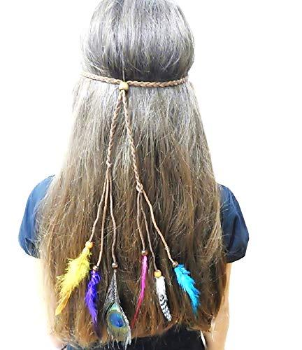 Marrón - Diadema india - trenzado - plumas - Nativos americanos - disfraces para niños - halloween - carnaval - accesorios - adultos - idea de regalo original