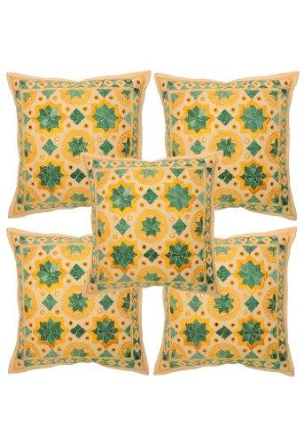 Indiano etnico Kantha lavoro in cotone Cuscino 16 da 16 pollici set di 5 pezzi