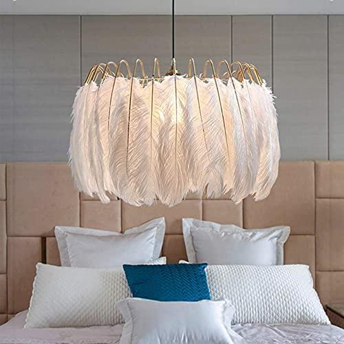 WOERD Luz de Techo de Plumas, Led Lámpara Colgante de Plumas, Moderna Creativo Lámpara De Araña De Metal Led Regulable, Lámpara Colgante para Dormitorio Salón De La Cocina