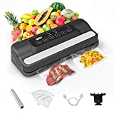 QDH Vacuum Sealer Machine, Automatic Food Sealer Machine with Built-in Cutter for Food Savers, Disassemble and Easy to Clean Vacuum Machines for Sous Vide Dry & Moist Food Modes, with Roll Vacuum Bags, Led Indicator Lights (black)