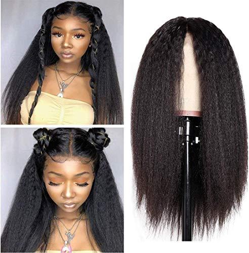 Singlebest 360 Yaki Wigs Perruques Wigs Cap - Bresilien Longues Cheveux Yaki kinkycurly - Perruque Femme Naturelle (14\
