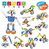 STEM Toys Engineering Construction Building Blocks Educational Toys Creative Kids Games DIY Kits Mechanical Erector Set Learning Toys for Boys Girl 7 8 9 10 11 12 Years Gift (10 Models 167 Pcs)