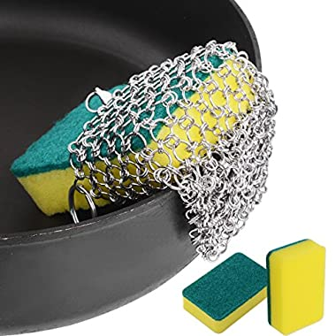 Cast Iron Cleaner, ROBAO Stainless Steel Chainmail Scrubber with 3pcs Sponges for Cast Iron Pan Skillet Dutch Ovens Waffle Iron Pans Scraper Cast Iron Grill Scraper