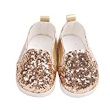 Doll Chaussures, YUYOUG Glitter Doll Baskets Shoes Chaussures pour Poupée for 18 inch Our Generation American Girl Doll (Gold)