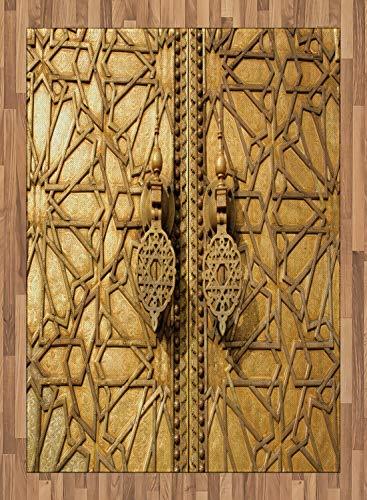 ABAKUHAUS marokkanisch Teppich, Königlicher Palast Marrakeschs, Deko-Teppich Digitaldruck, Färben mit langfristigen Halt, 160 x 230 cm, Gold