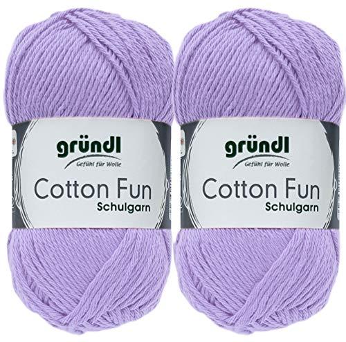 2x50 Gramm Gründl Cotton Fun Häkelgarn Schulgarn aus 100% Baumwolle + 1 Anleitung für EIN Meerschwein (Neu Flieder)