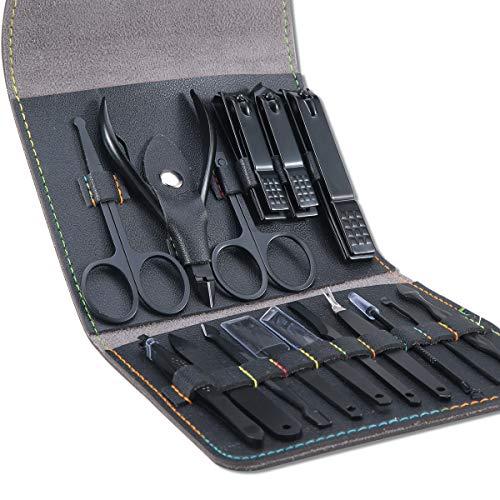 Manicura Pedicura Set 16 PCS Profesional Cortaúñas Acero Inoxidable Grooming Kit - Con Estuche De Viaje De Cuero Lujoso(Negro) ⭐