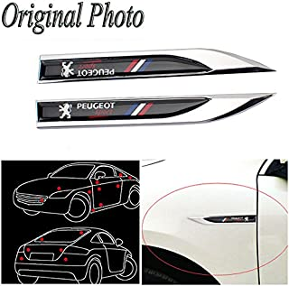 CHAMPLED 2pcs Car Auto Truck Chrome Metal Decal Sticker 3D Emblem Badge for Auto Fender fit
