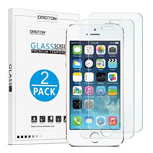 OMOTON [2 Stück] Panzerglasfolie für iPhone se/5s, 9H Härte, Anti-Kratzen, Anti-Öl, Anti-Bläschen