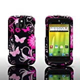 CoverON Slim Hard Case for ZTE Radiant/Sonata 4G with Cover Removal Tool - (Pink Butterfly)
