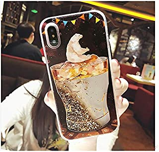 Twinlight for iPhone 7 Case Luxury Heart Hard PC Ice Cream Dream Dynamic Liquid Quicksand Phone Cases for iPhone 7 8 Plus X Case (B, for iPhone 7 8)
