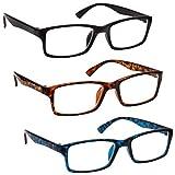 Uv Reader Gafas De Lectura Negro Marrón Azul Lectores Valor Pack 3 Hombres Mujeres Uvr3092Bk_Br_Bl +1,50 3 Unidades 88 g
