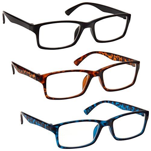 Uv Reader Gafas De Lectura Negro Marrón Azul Lectores Valor Pack 3 Hombres Mujeres Uvr3092Bk_Br_Bl +2,00 3 Unidades 88 g