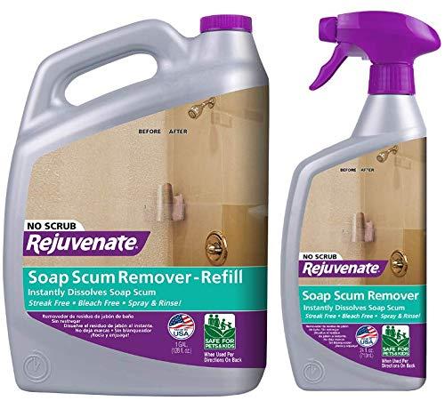 Rejuvenate Scrub Free Soap Scum Remover Shower Glass Door Cleaner Works on Ceramic Tile, Chrome, Plastic and More 24oz + 128oz