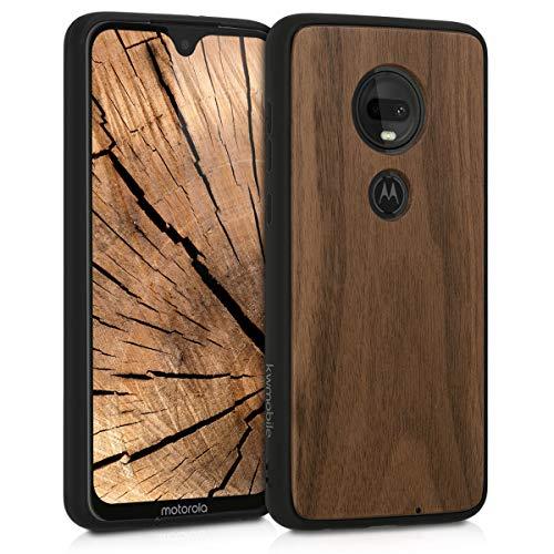 kwmobile Bumper Schutzhülle kompatibel mit Motorola Moto G7 / Moto G7 Plus - Holz Hülle Handy Hülle Cover Dunkelbraun