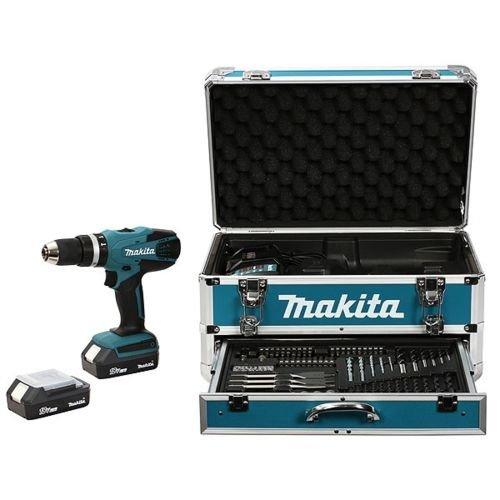 Makita HP457DWEX4 Perceuse visseuse à percussion en mallette en Alu avec 2 batteries 18 V 1,3 Ah/74...