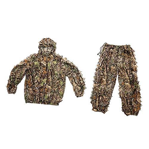 Tubayia 3D Ghillie Anzug Tarnanzug Camouflage Kleidung Jacke Hose für Jagd, Schießen (Erwachsene)