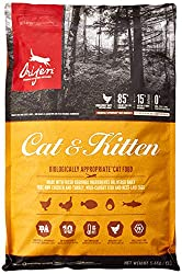 With 40% richly nourishing protein, ORIJEN nourishes cats and kittens according to their evolutionary and biological needs. Free of rendered poultry meals, 1/3 of the meat ingredients are from dehydrated chicken and turkey (air-dried at low temperatu...