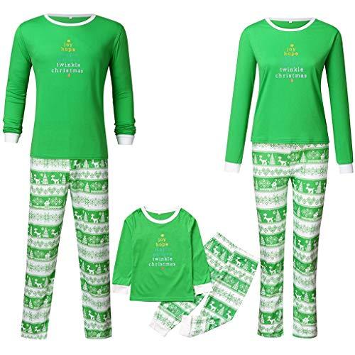 Yumso Noël Pyjama Père Mère Enfant Ensemble Pyjamas Automne et Hiver Vêtements de Nuit Noël Lettre Impression Manches Longues Hauts et Flocon de Neige Pantalons Famille Pyjamas Tenue d'intérieur