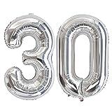 Ponmoo Foil Globo Número 30 Plata, Gigante Numeros 0 1 2 3 4 5 6 7 8 9 10-19 20-29 30 40 50 60 70 80 90 100, Grande Globos para La Boda Aniversario, Globo de Cumpleaños Fiesta Decoración