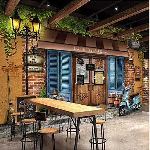 Individuelle Wandtapete 3D Retro Vintage Paris Café Fototapete Café Restaurant Wohnzimmer Wandtapete Tapeten Wohnkultur 300x200cm