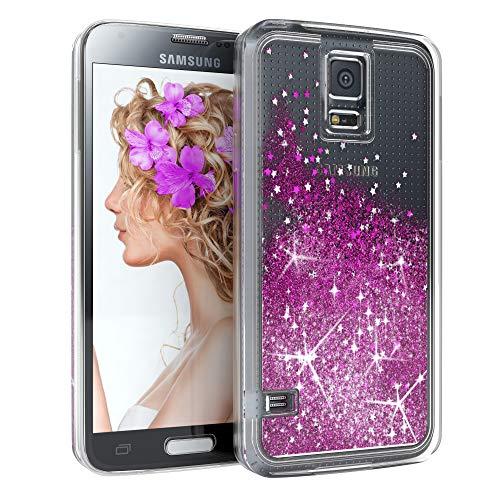 EAZY CASE Hülle kompatibel mit Samsung Galaxy S5/LTE+/Duos/Neo Schutzhülle mit Flüssig-Glitzer, Handyhülle, Schutzhülle, Back Cover mit Glitter Flüssigkeit, aus Silikon, Transparent/Durchsichtig, Lila