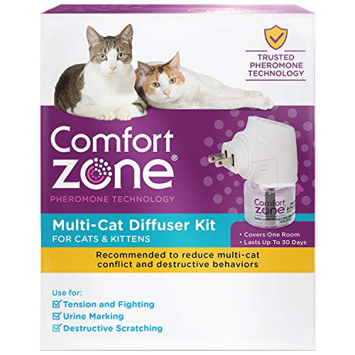 Comfort Zone MultiCat Calming Diffuser Kit, Cat Pheromone Spray, Single Diffuser Kit, 1 Diffuser, 1 Refill, New Formula