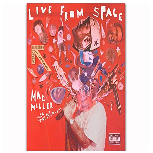 Mac Miller R.I.P Live From Space Rap Music Album Rapper Posters Wall Art Canvas Painting Pictures for Living Room Decor Print on canvas 50x70cm unframed