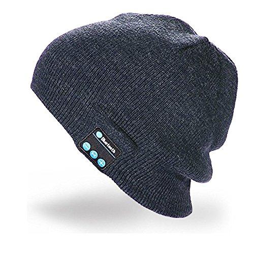 Intbase Bluetooth-Mütze, kabellos, Bluetooth, Musik-Mütze, Winter, gestrickt, für Laufen, Outdoor-Sport, Skifahren, Camping, Wandern, Erntedankfest, Dunkelgrau