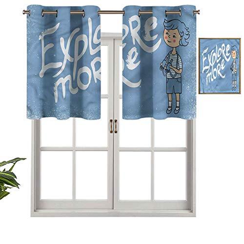Hiiiman Paneles de cortina con ojales superiores para niños con prismáticos, juego de 1, 91,4 x 45,7 cm con aislamiento térmico para sala de estar