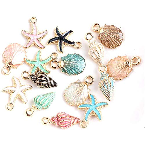20pcs Mixed Alloy Metal Shell Pendant Conch starfish Charms for Jewelry Making Fit DIY Handmade Earring Necklace