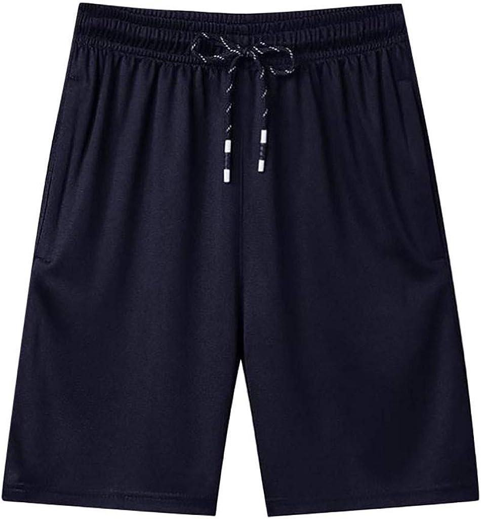 Mens Big and Tall Athletic Shorts Summer Casual Elastic Waist Thin Fast-Drying Beach Shorts with Pockets, M-8XL