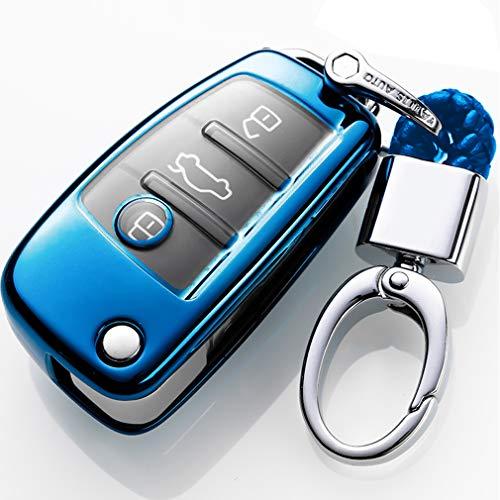 Blu Cover Chiave Auto per Audi A1 A3 A4 A6 A8 Q3 Q5 Q7 S3 S6 R8 TT 3 Buttons Protezione in suave TPU Silicone Guscio Protettivo coprichiave Custodia per Chiave