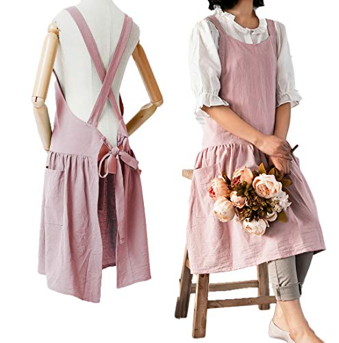 """Women Girls Vintage Cute Apron Gardening Works Cross Back Cotton/Linen Blend Aprons Pinafore Dress with Two Pockets (pink, (32"""" x 30""""))"""